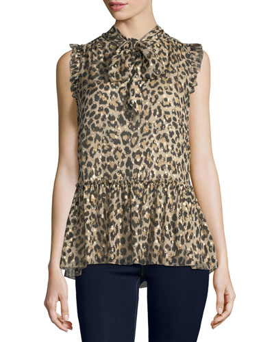 leopard-print tie-neck chiffon top w/ metallic