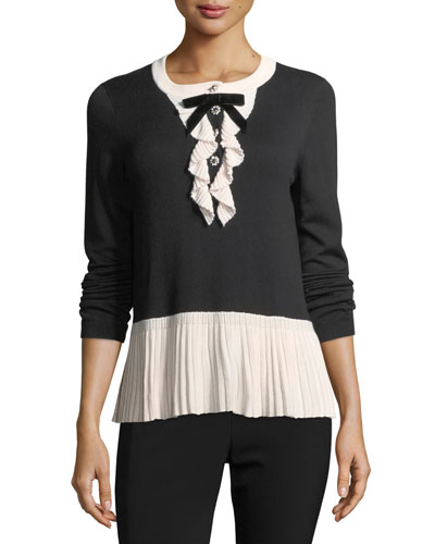 mixed-media pleated long-sleeve sweater