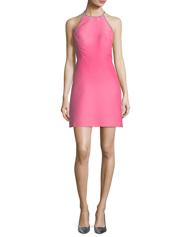 embellished a-line halter dress