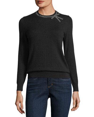 kate spade new york bow embellished crewneck wool-blend sweater
