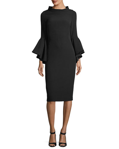 Funnel-Collar Bell-Sleeve Sheath Crepe Cocktail Dress