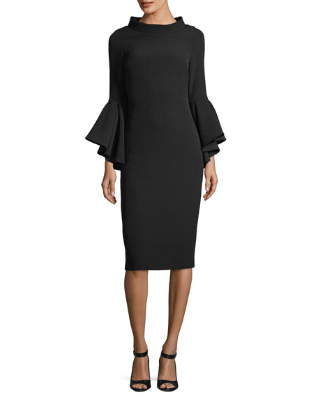 Badgley Mischka Collection Funnel-Collar Bell-Sleeve Sheath Crepe Cocktail Dress