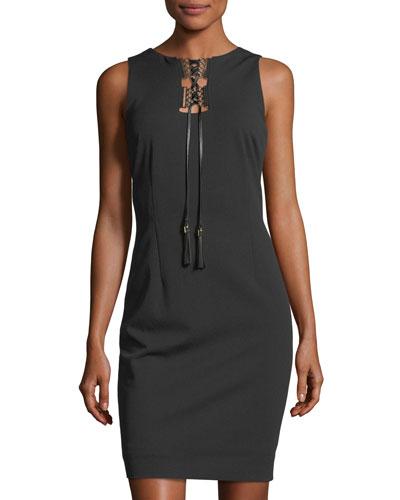 Lace-Up Sleeveless Crepe Dress