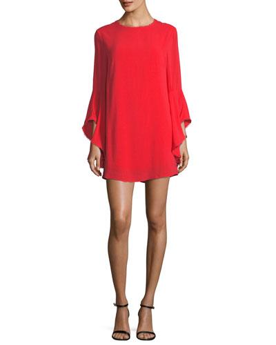 Flared-Sleeve Shift Dress