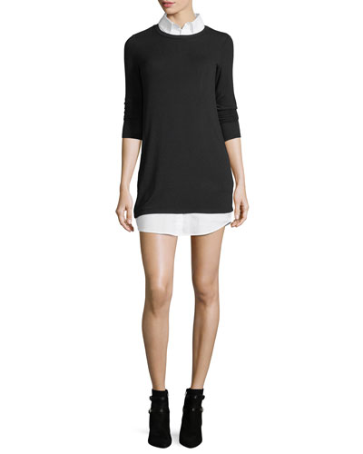 Cher Combo Sweater Tunic w/ Shirting