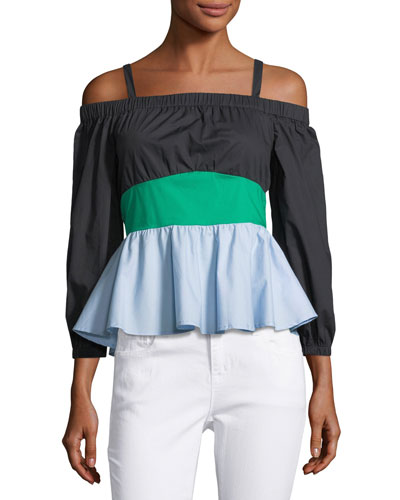 Off-the-Shoulder Colorblock Blouse