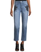 Burke High-Rise Beaded Boyfriend Crop Jeans