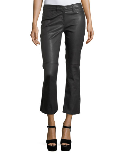 W25 Split Crop Bell Leather Pants
