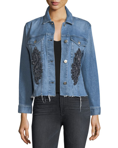 Burke Button-Front Cropped Denim Jacket w/ Released Hem