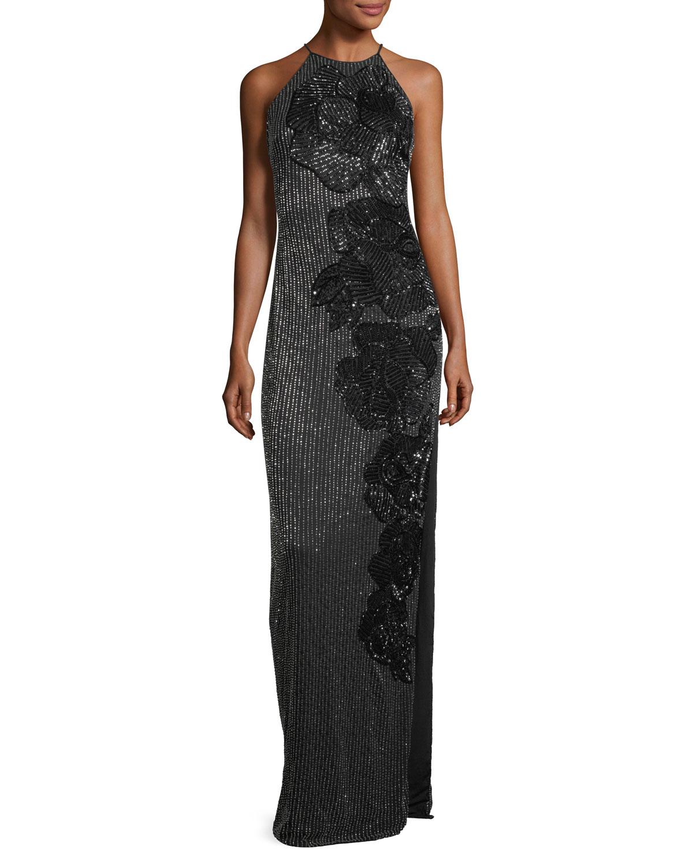 Allover Beaded Sleeveless Halter Evening Gown