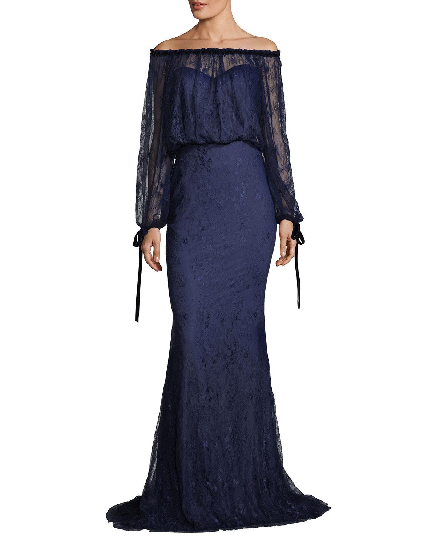 Off-the-Shoulder Blouson-Top Lace Evening Gown
