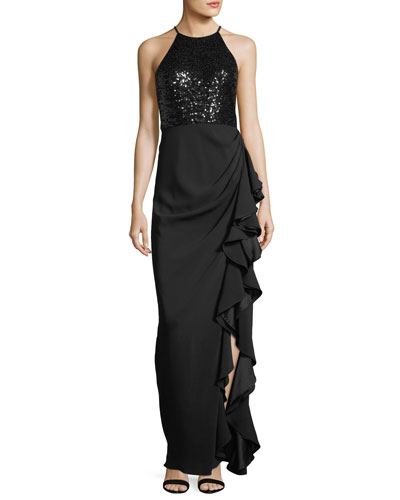 Sequin Racerback Ruffle-Slit Evening Gown