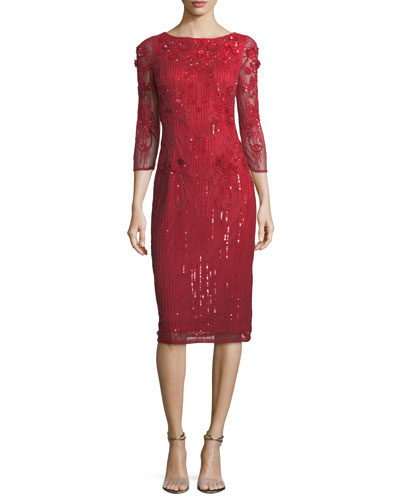 Embellished 3/4 Illusion-Sleeve Sheath Dress