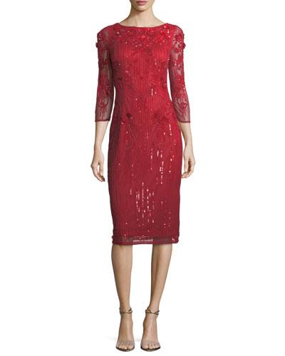 Embellished 3/4 Illusion-Sleeve Sheath Dress