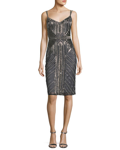 Sleeveless Double-Strap Embellished Cocktail Sheath Dress