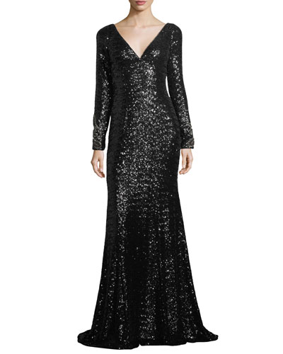 Long-Sleeve V-Neck Sequined Mermaid Gown