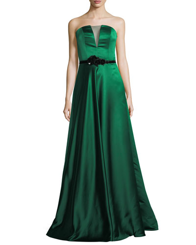 Strapless Double-Faced Satin Evening Gown