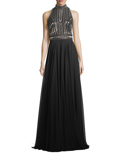 Embellished Halter-Neck Cutout Evening Gown