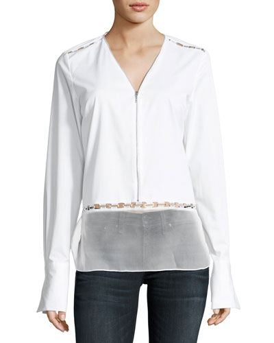 Jaye Long-Sleeve Zip-Front Blouse