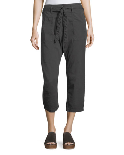 The Convertible Twill Cropped Trouser