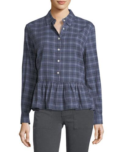 The Ruffle Long-Sleeve Plaid Oxford Shirt