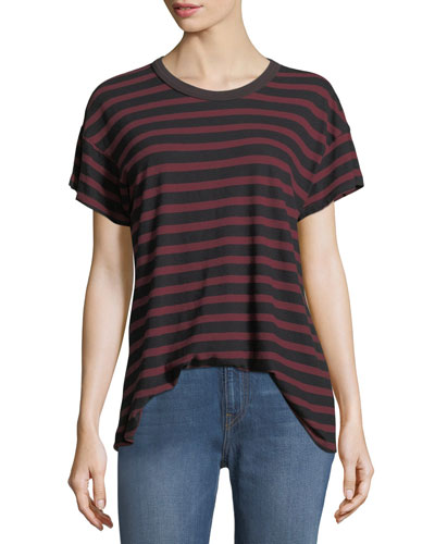The Boxy Crewneck Striped Cotton Tee