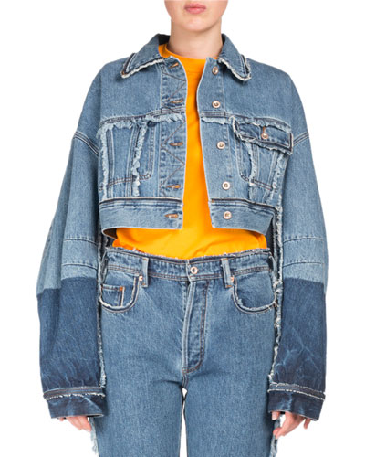 Kremi Two-Tone Cropped Distressed Denim Jacket W/ Raw-Edges in Indigo Blue