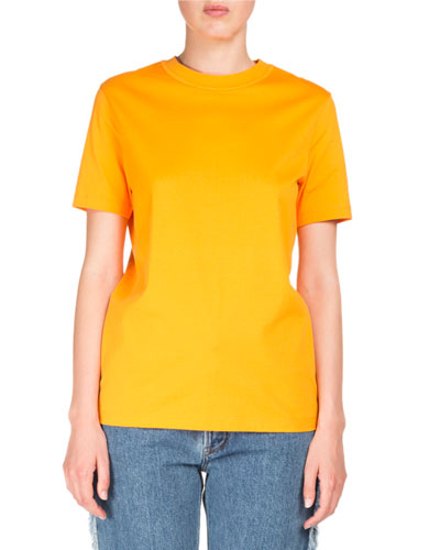 Taline Crewneck Back-Seam Cotton T-Shirt