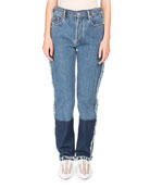 Mirja High-Waist Straight-Leg Two-Tone Denim Jeans w/ Contrast Hem