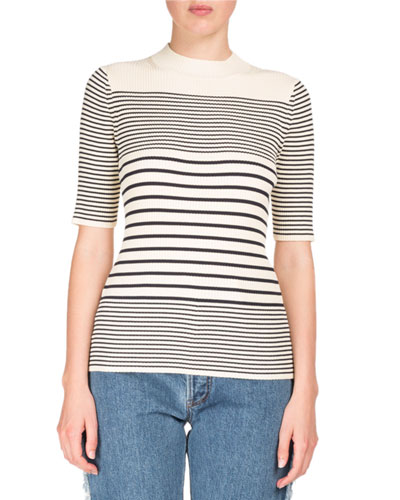 Winne Short-Sleeve Striped Knit Sweater