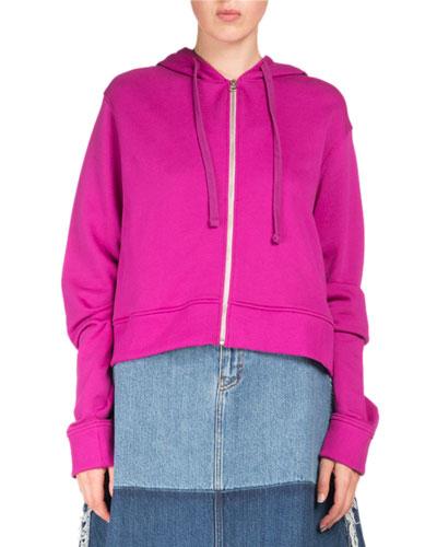 Bemke Hooded Zip-Front Crop Cotton Sweatshirt
