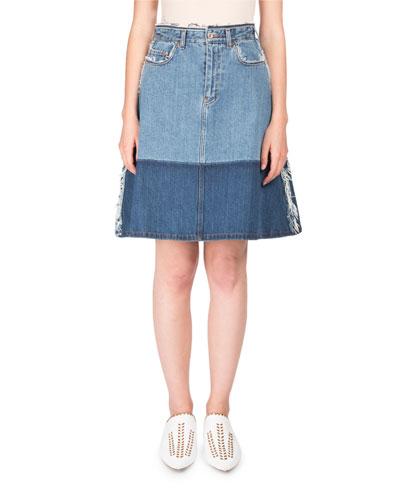 Halona High-Waist A-Line Two-Tone Denim Skirt