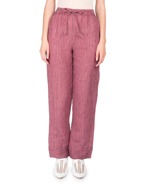 Marceline Drawstring Striped Straight-Leg PJ Pants