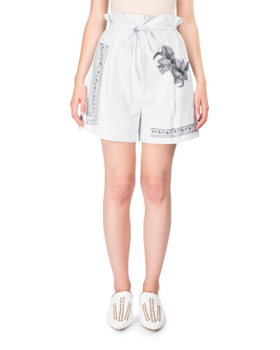 Maurice High-Waist Cotton Shorts w/Floral-Embroidery