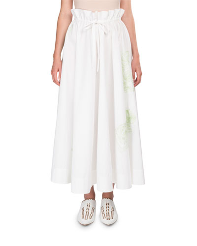 Hella Full Cotton Skirt w/ Floral Embroidery