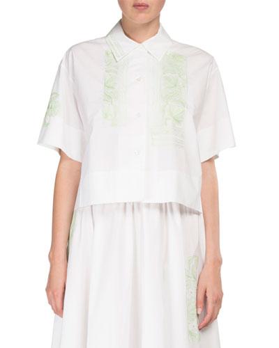 Livi Pop-Floral Button-Front Crop Cotton Blouse