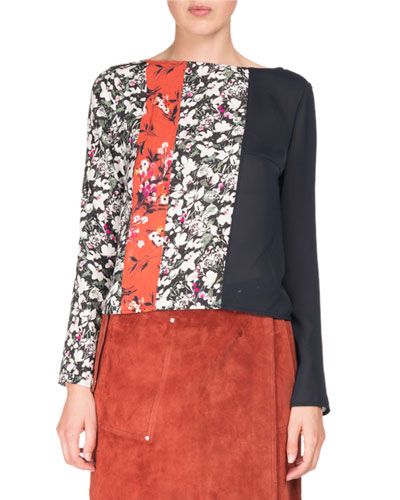 Loretta Floral Blouse - Off Black, Black / Orange Fl Size 34 Fr in Off Black / Black / Orange Fl