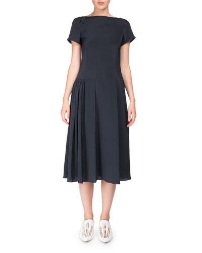 Jovana Twill Short-Sleeve Boat-Neck Dress