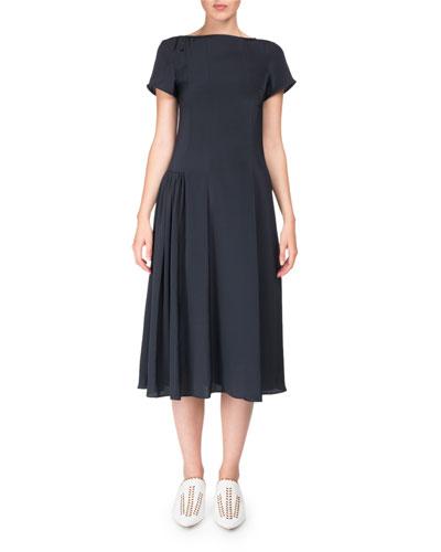 Jovana Twill Short-Sleeve Boat-Neck Dress