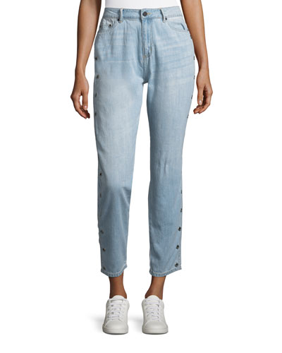 Side-Button Cropped Jeans