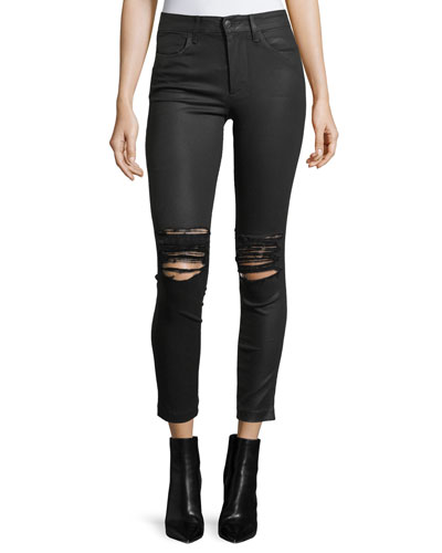 The Charlie Ankle Coated Pants w/ Distressing