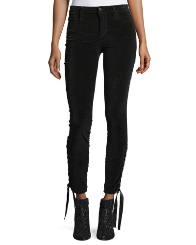 The Icon Ankle Mid-Rise Velvet Pants w/ Lace-Up Hem