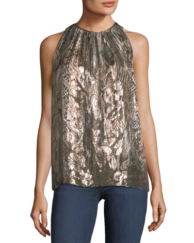 Gigi Sleeveless Printed Metallic Silk-Blend Top