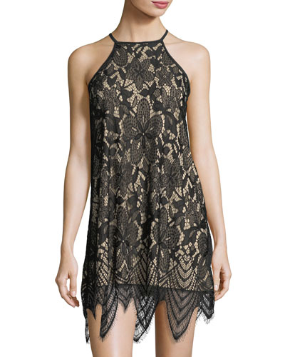 Halter-Neck Lace Sheath Dress