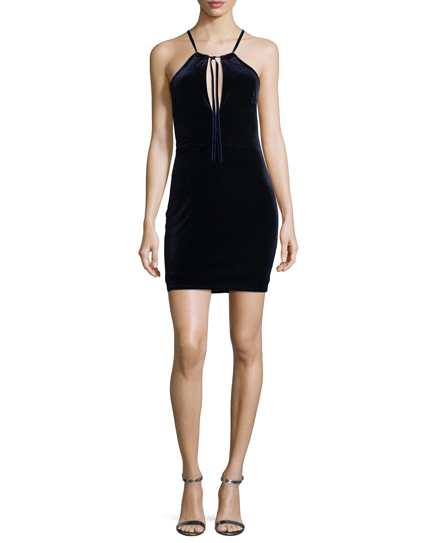 Brie Deep V-Neck Self-Tie Halter Dress