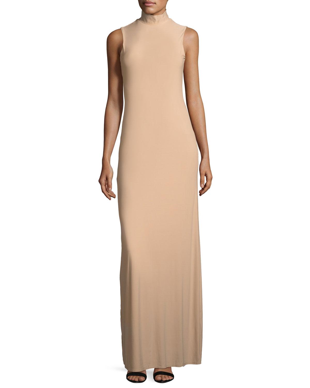 Issy Sleeveless Side-Slit Column Evening Gown