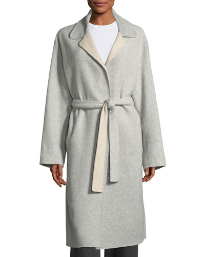 Split-Sleeve Belted Long Wool Wrap Coat