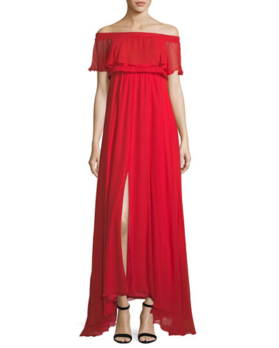 Sol Off-the-Shoulder Ruffle Chiffon Evening Gown