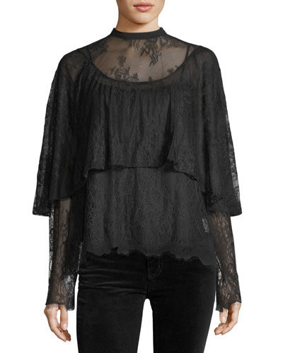 Long-Sleeve Tiered Lace Top