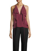 Deep-V Draped Silk Camisole Top